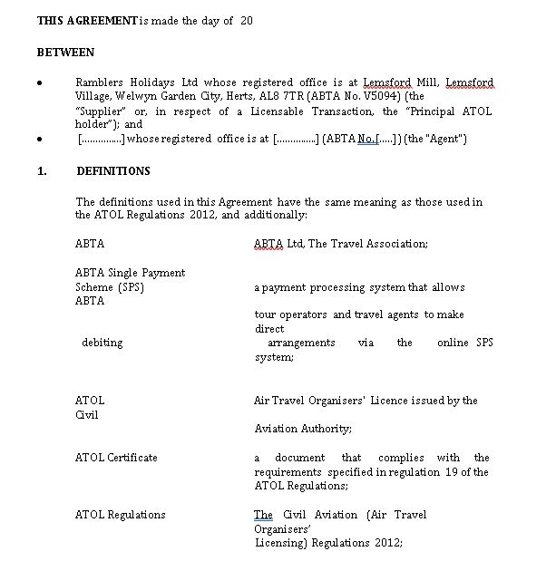 Simple Travel Agency Agreement Template