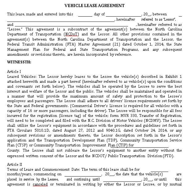 Simple Vehicle Lease Agreement Template