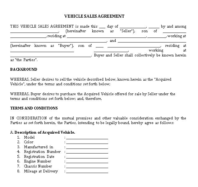 Simple Vehicle Sales Agreement Template