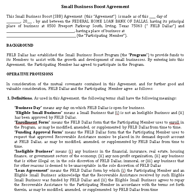 Small Business Boost Agreement