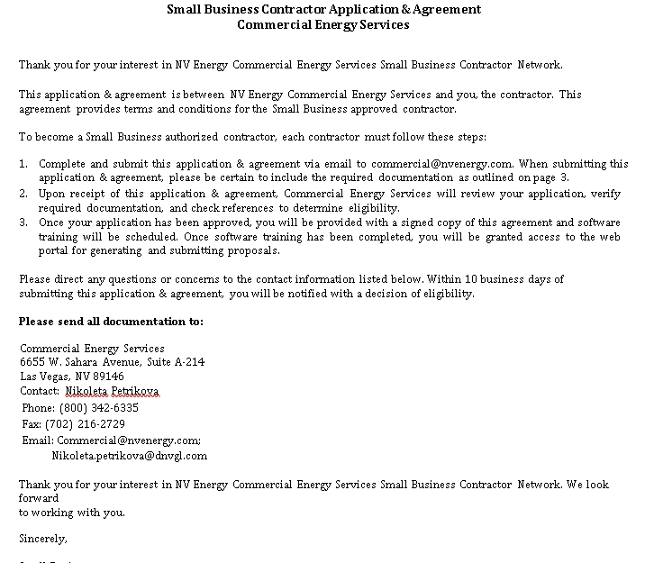 Small Business Contractor Agreement in PDF