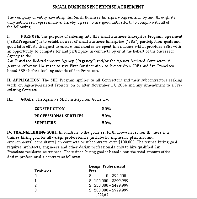 Small Business Enterprice Agreement