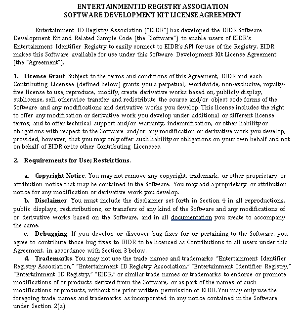 Software Development kit License Agreement