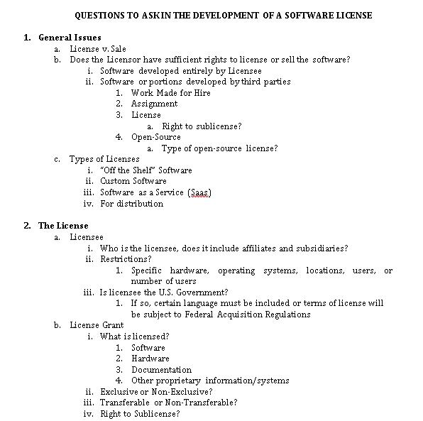 Software License Checklist