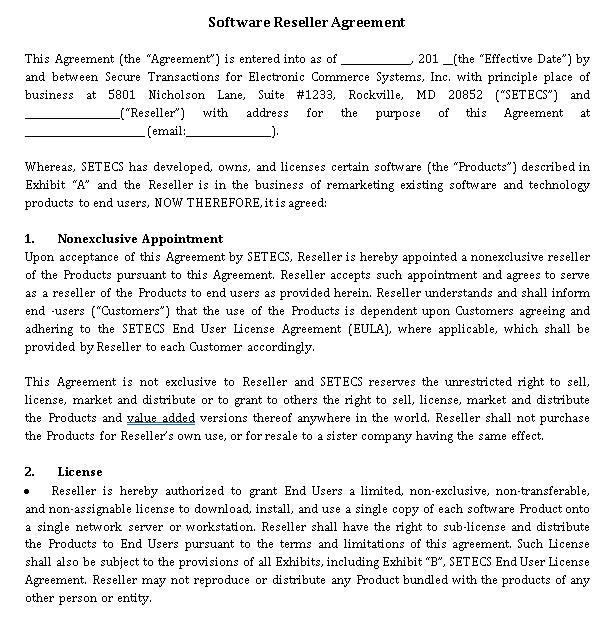 Software Reseller Agreement Template
