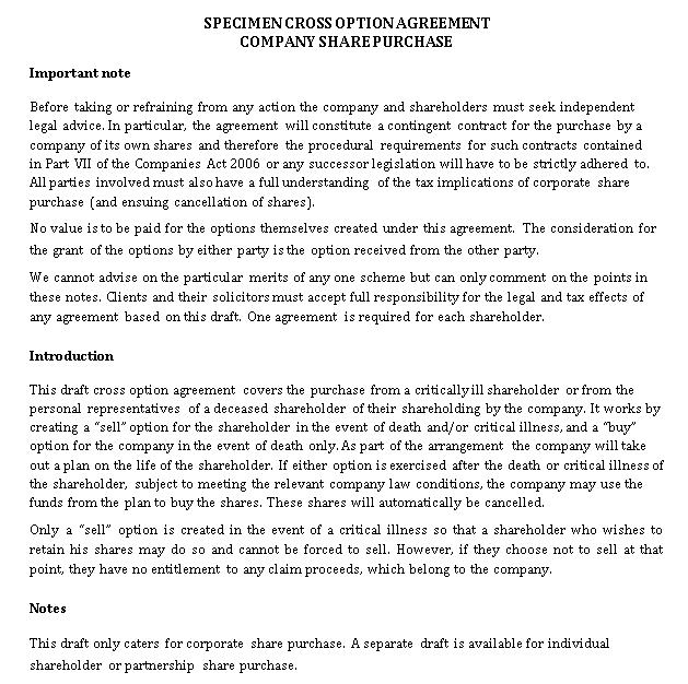 Specimen Cross Option Agreement