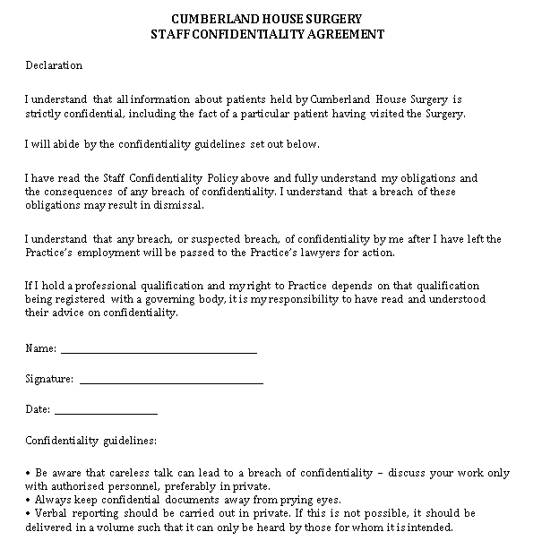 Staff Confidentiality Agreement Format