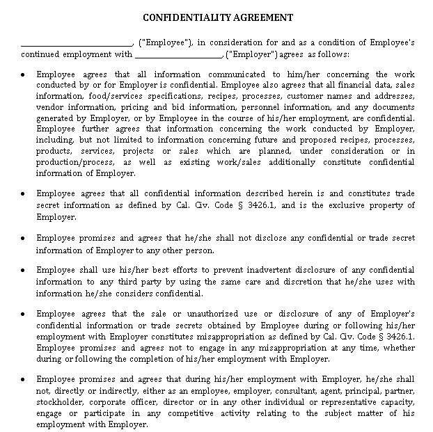 Staff Confidentiality Agreement Sample