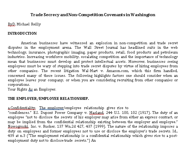 Standard Business Non Compete Agreement