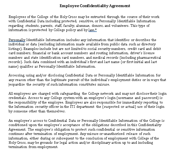 Standard Confidentiality Agreement for Employee