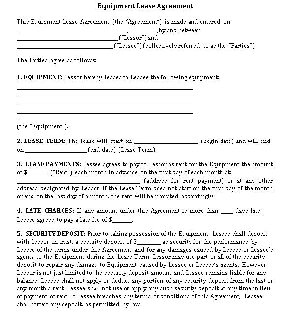 Standard Equipment Lease Agreement