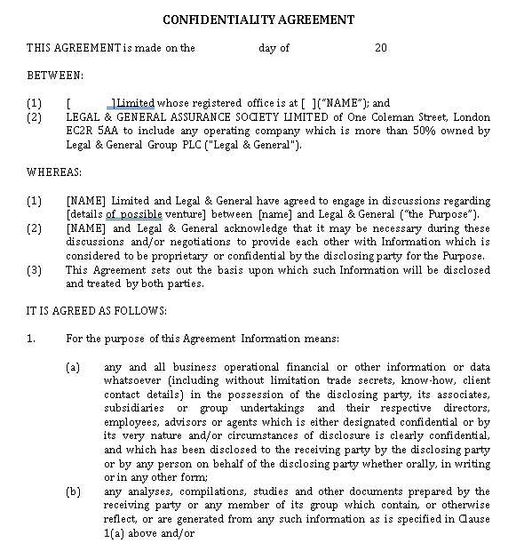 Standard Form Confidentiality Agreement