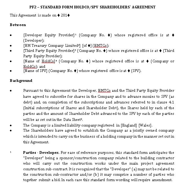 Standard Form Shareholders Agreement