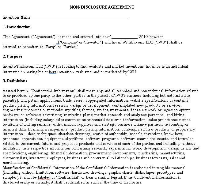 Standard Invention Non Disclosure Agreement Form