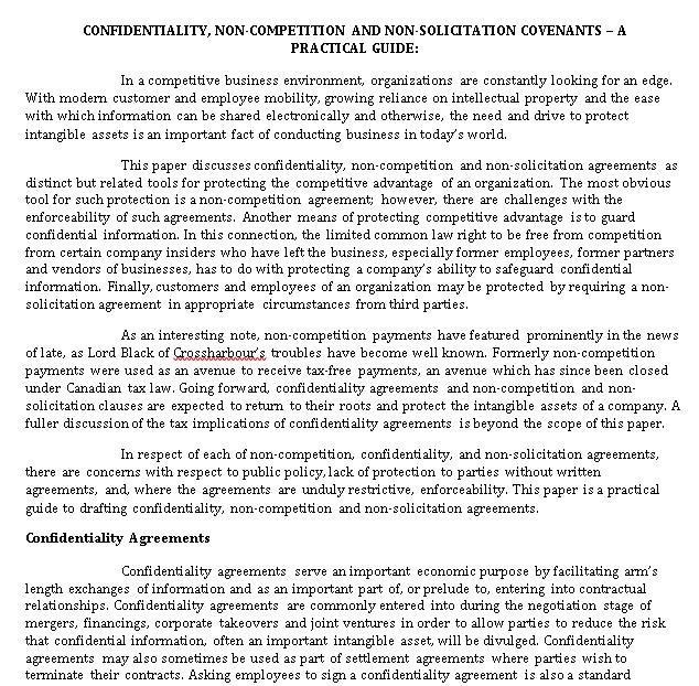 Standard Non Compete Agreement