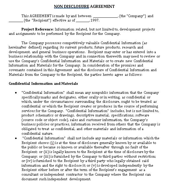 Standard Non Disclosure Agreement
