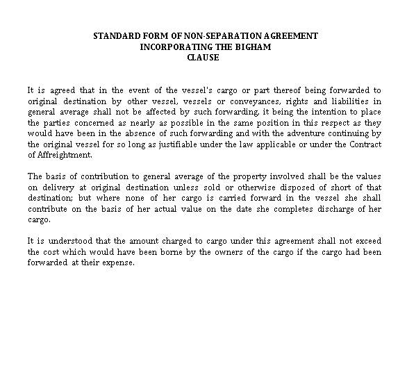 Standard Non Separation Agreement Template