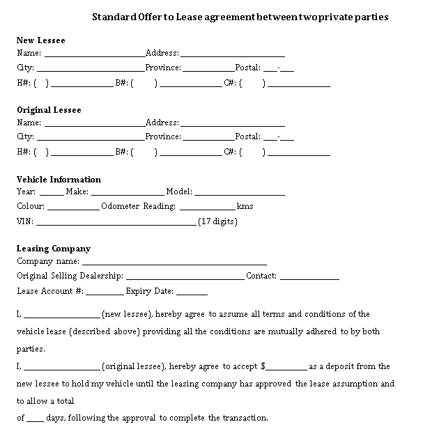 Standard Offer to Lease agreement between two private partie