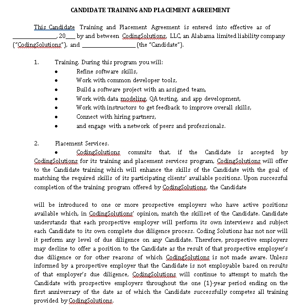 Standard Placement Agreement Example
