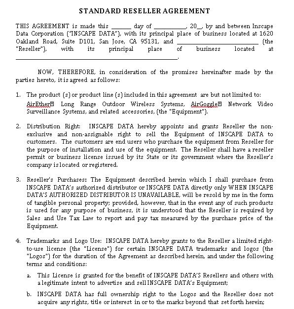Standard Reseller Agreement