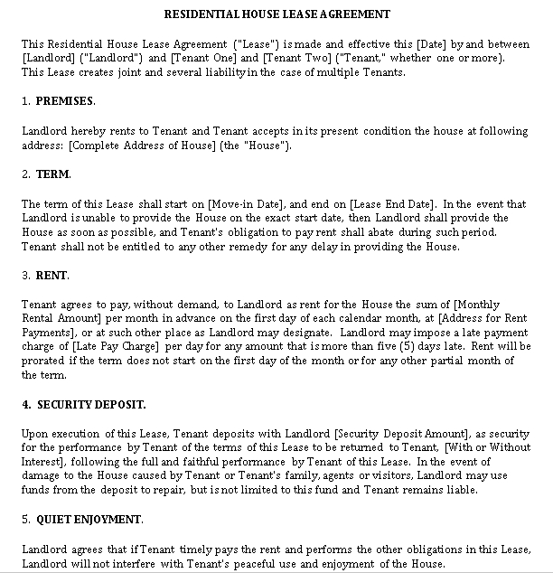 Standard Residential Lease Agreement 1