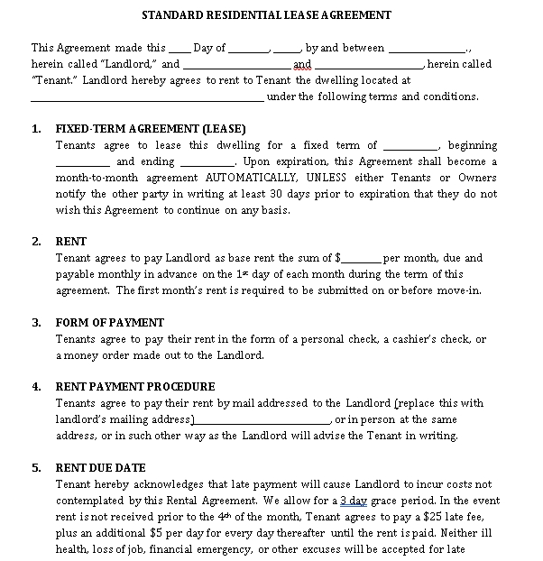Standard Residential Lease Agreement