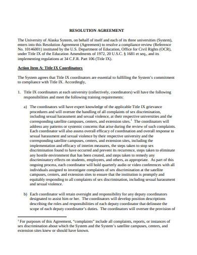 Standard Resolution Agreement Template
