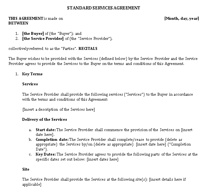Standard Services Agreement Template
