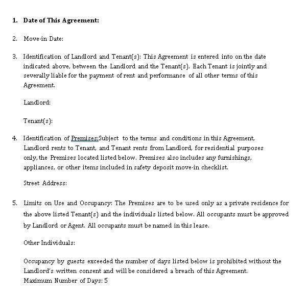 Standard Tenant Lease Agreement 1