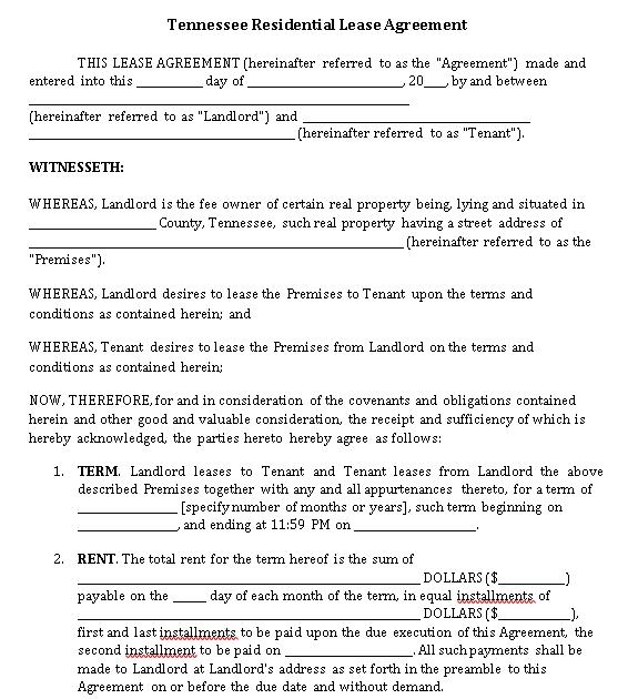 Standard Tenant Lease Agreement