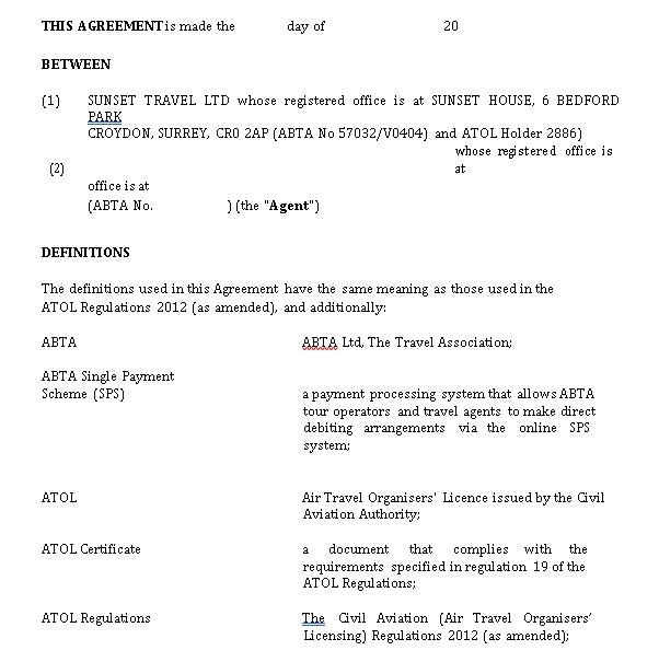 Standard Travel Agency Agreement