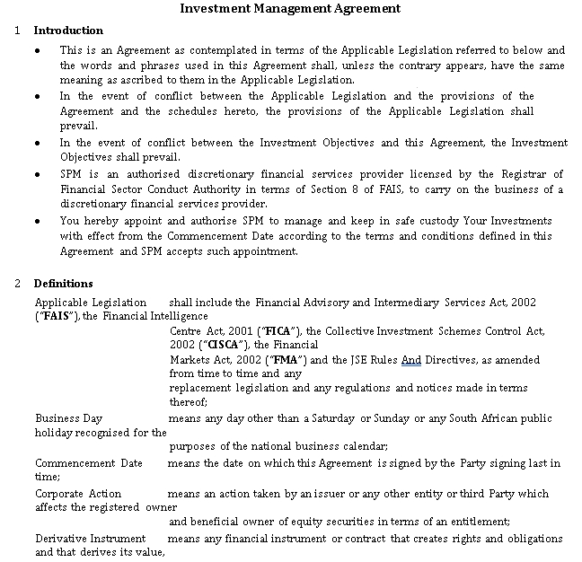 Stock Management Personal Investment Agreement Template