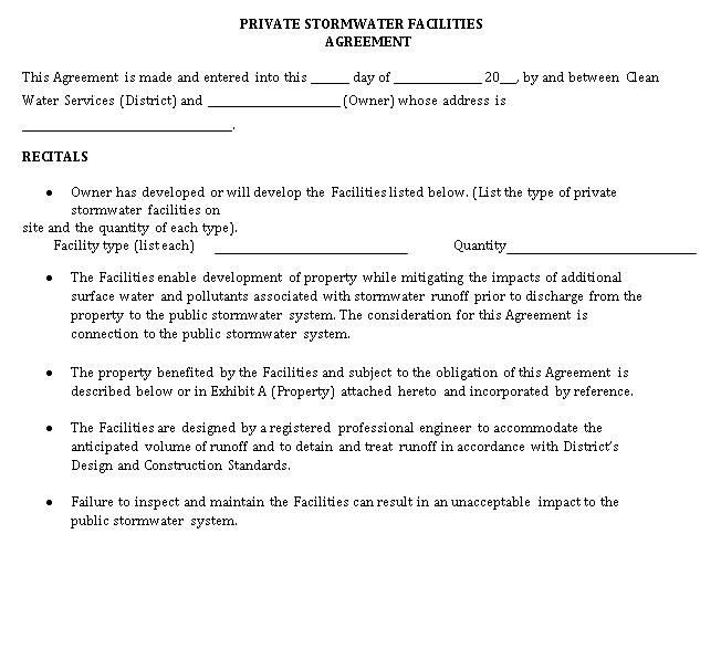 Storm Maint Agreement Detention