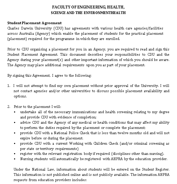 Student Placement Agreement Format