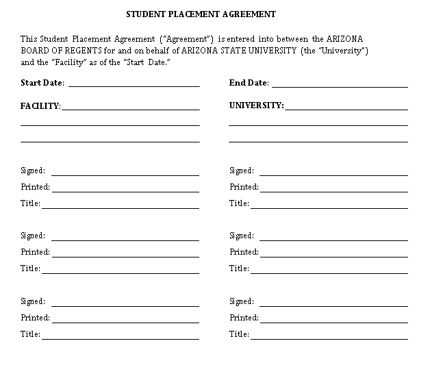 Student Placement Agreement Template