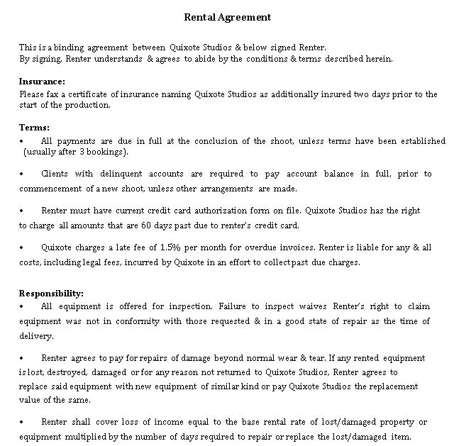 Studio Rental Agreement Sample Template