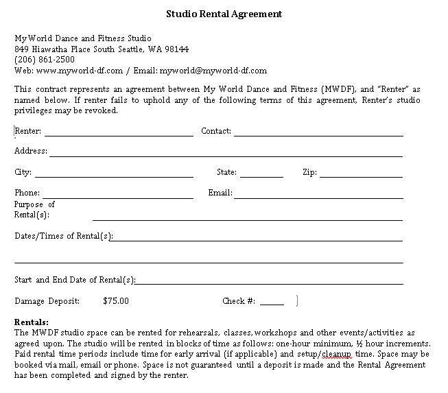 Studio Rental Agreement Sample