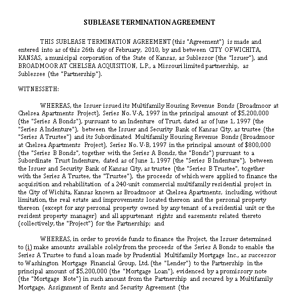Sublease Termination Agreement Template