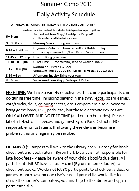 Summer Camp Daily Activity Schedule Format