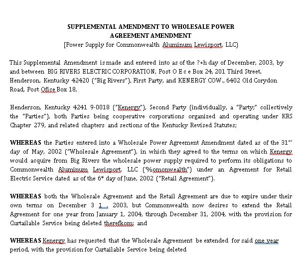 Supplemental Amendment to Wholesale Power Agreement