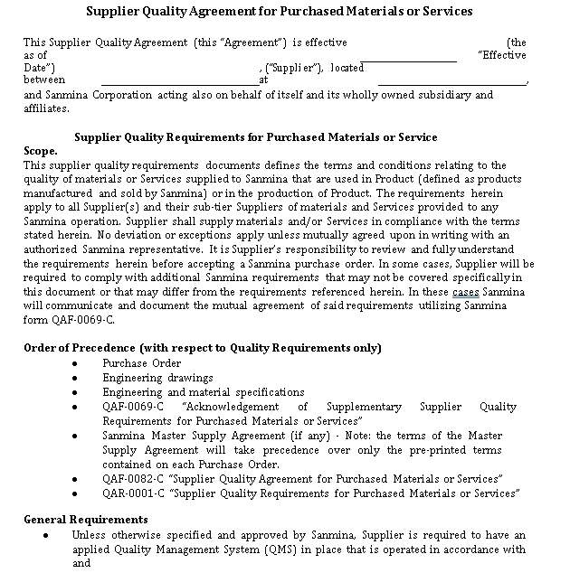 Supplier Quality Agreement