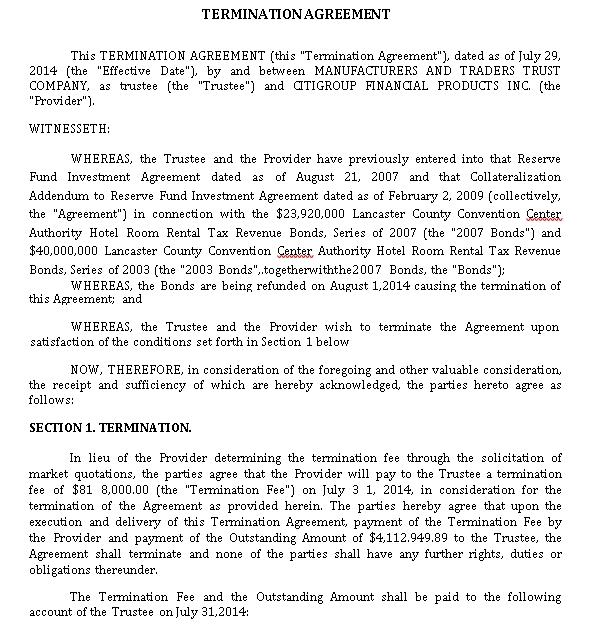 Termination Agreement Example