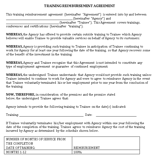 Training Reimbursement Agreement Example