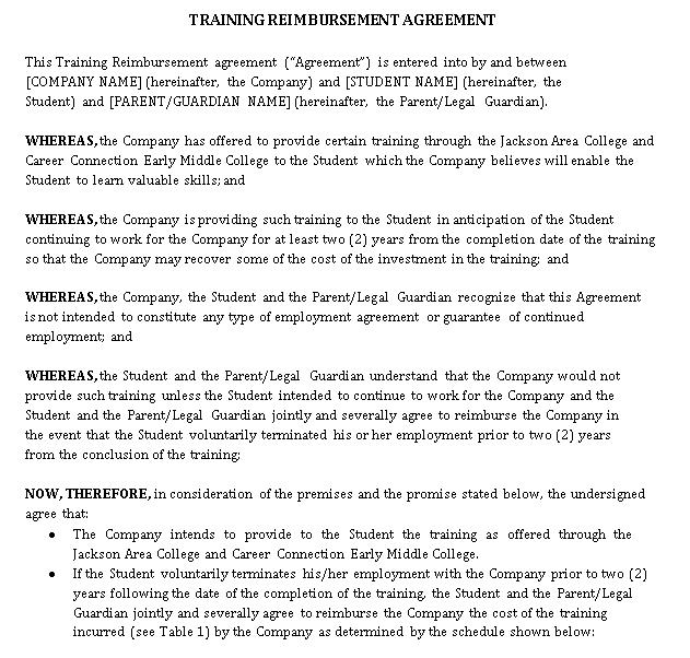Training Reimbursement Agreement Template