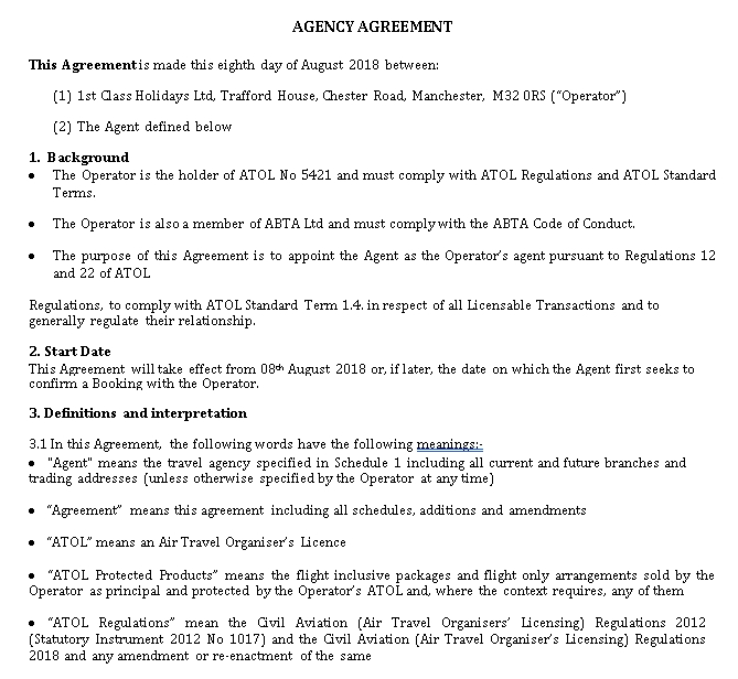 Travel Agency Agreement Format