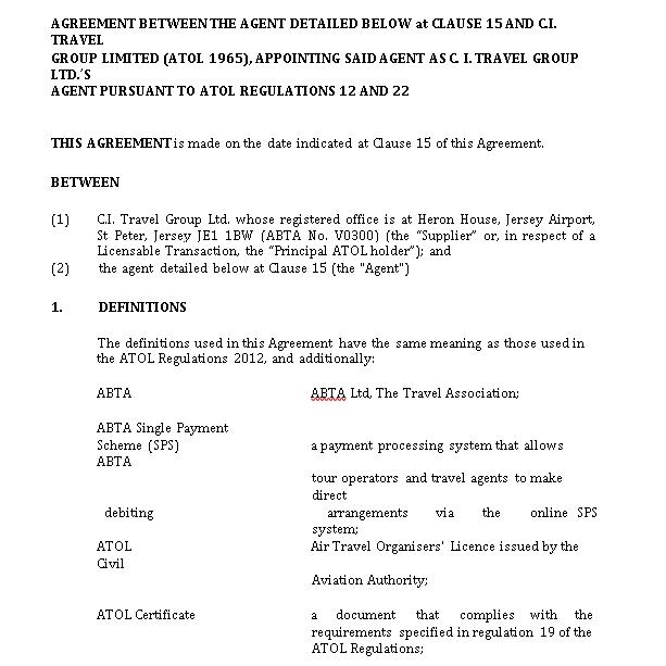 Travel Agency Agreement Sample