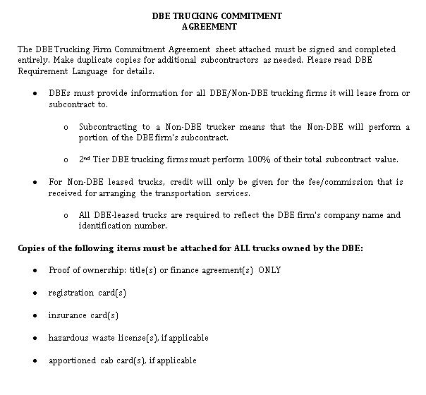 Trucking Commitment Agreement