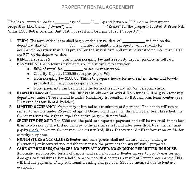 Vacation Property Rental Agreement