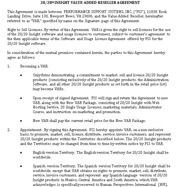 Value Added Reseller Agreement Template