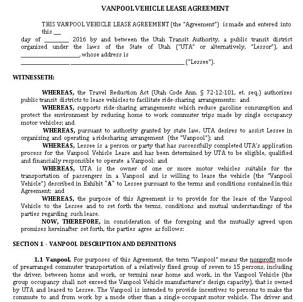 Vanpool Vehicle Lease Agreement Template